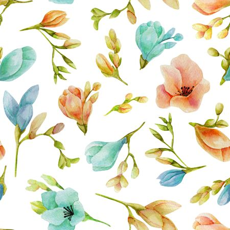 Watercolor blue and peach freesia flowers seamless pattern, hand drawn on a white