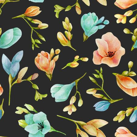 Watercolor blue and peach freesia flowers seamless pattern, hand drawn on a dark
