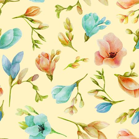 Watercolor blue and peach freesia flowers seamless pattern, hand drawn on a beige Banco de Imagens
