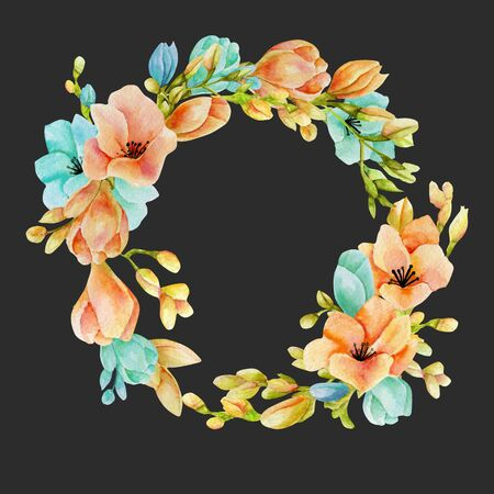 Watercolor pink and blue freesia flowers wreath