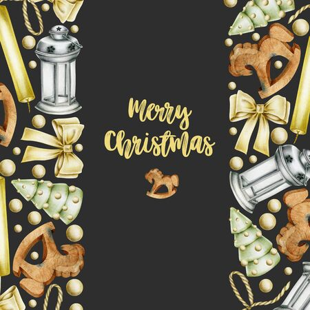 Christmas card with hand drawn Christmas elements (candles, wooden toys, bows, christmas lantern) on a dark background, Christmas greeting card design Banco de Imagens