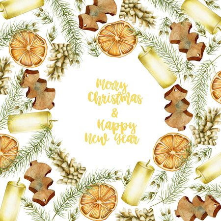 Christmas card with hand drawn Christmas elements (candles, branches of spruce, fir cones, dried orange) on a white background, Christmas greeting card design Christmas card