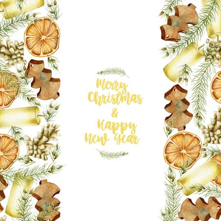 Christmas card with hand drawn Christmas elements (candles, branches of spruce, fir cones, dried orange) on a white background, Christmas greeting card design
