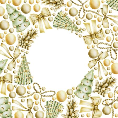 Christmas card with hand drawn golden Christmas elements (bows, balls, fir cones) on a white background, Christmas card, frame, banner design