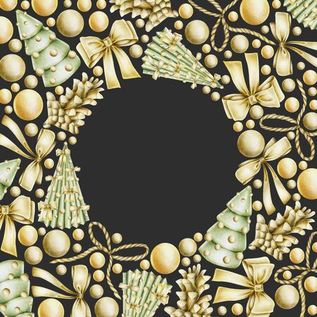 Christmas card with hand drawn golden Christmas elements (bows, balls, fir cones) on a dark background, Christmas card, frame, banner design Banco de Imagens