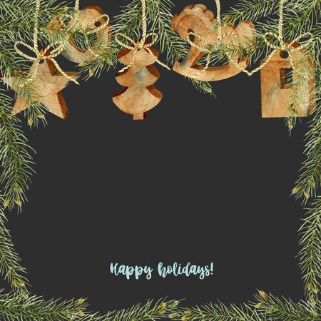 Greeting card with watercolor wooden Christmas decorations and branches of spruce, hand drawn on a dark background, Christmas card design