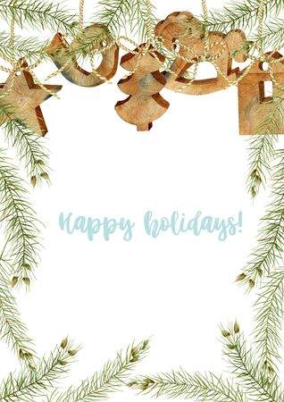 Greeting card with watercolor wooden Christmas decorations and branches of spruce, hand drawn on a white background, Christmas card design
