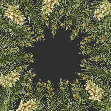 Greeting card with watercolor branches of spruce and fir cones, hand drawn on a dark background