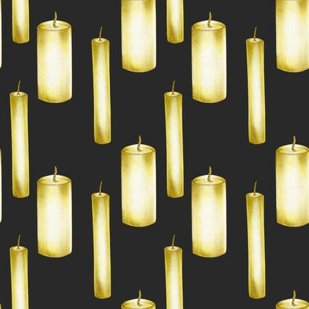 Seamless pattern with candles, hand drawn on a dark background