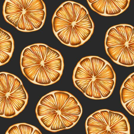 Seamless pattern of dried oranges, hand drawn on a dark background, Christmas pattern Banco de Imagens