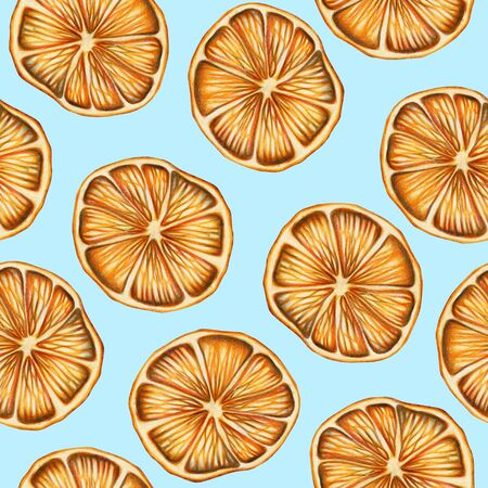 Seamless pattern of dried oranges, hand drawn on a blue background, Christmas pattern