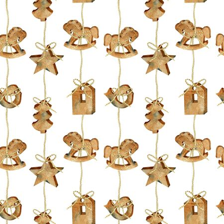 Seamless pattern of watercolor Christmas wooden toys garland in scandinavian style, hand drawn on a white background