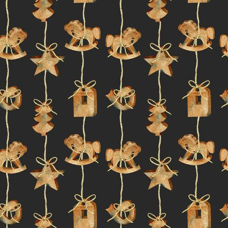 Seamless pattern of watercolor Christmas wooden toys garland in scandinavian style, hand drawn on a dark background Banco de Imagens
