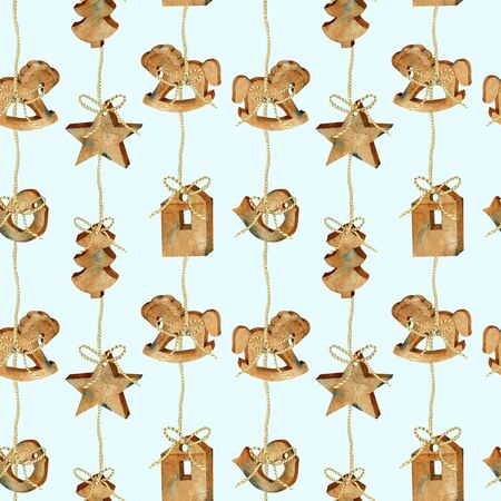 Seamless pattern of watercolor Christmas wooden toys garland in scandinavian style, hand drawn on a blue background