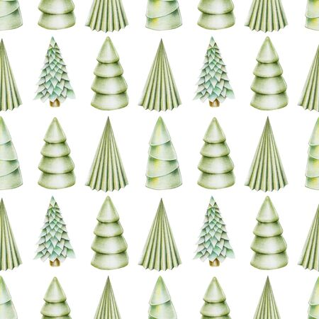 Seamless pattern of christmas trees, hand drawn on a white background