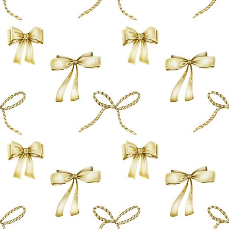 Seamless pattern of golden bows, hand drawn on a white background
