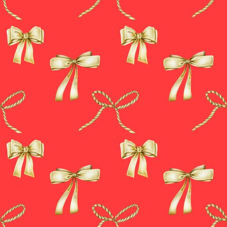 Seamless pattern of golden bows, hand drawn on a red background Banco de Imagens