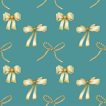 Seamless pattern of golden bows, hand drawn on a blue background Banco de Imagens