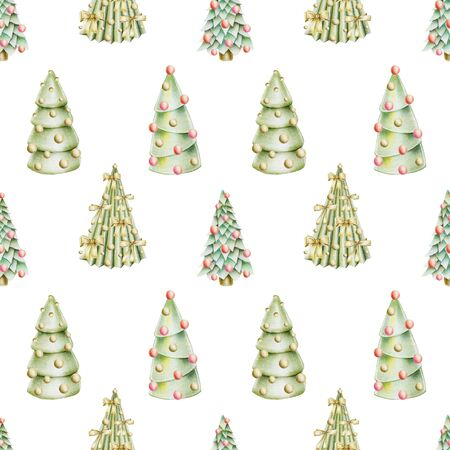 Seamless pattern of christmas trees with decorations, hand drawn on a white background Banco de Imagens