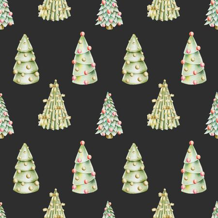 Seamless pattern of christmas trees with decorations, hand drawn on a dark background Banco de Imagens