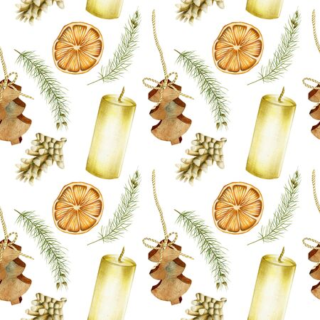 Seamless pattern of hand drawn Christmas elements (candles, branches of spuce, fir cones, dried orange) on a white background, Christmas design