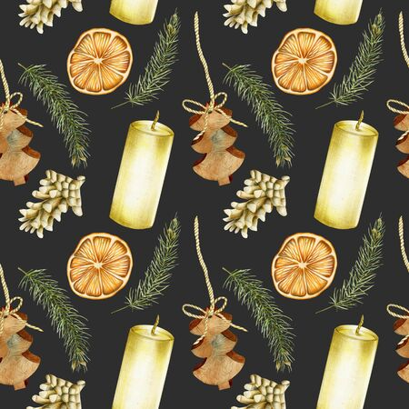 Seamless pattern of hand drawn Christmas elements (candles, branches of spuce, fir cones, dried orange) on a dark background, Christmas design
