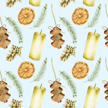 Seamless pattern of hand drawn Christmas elements (candles, branches of spuce, fir cones, dried orange) on a blue background, Christmas design