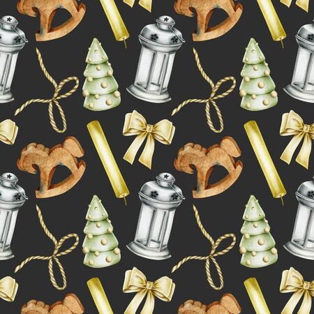 Seamless pattern of hand drawn Christmas elements (candles, wooden toys, bows, christmas lantern) on a dark background, Christmas design