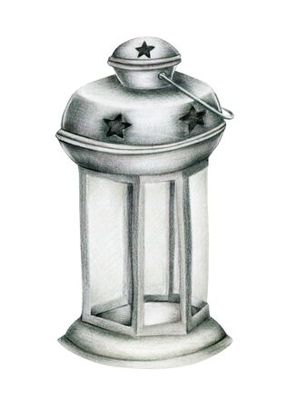 Illustration of christmas lantern, hand drawn isolated on a white background Banco de Imagens