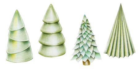 Collection of christmas trees, hand drawn isolated on a white background Banco de Imagens