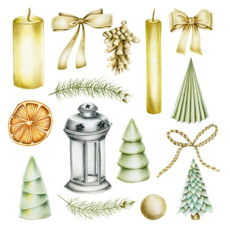 Collection of Christmas items (candles, bows, fir cone, christmas tree, dried orange, lantern), hand drawn isolated on a white background