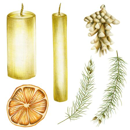 Collection of Christmas items (candles, spruce branches, fir cone, dried orange), hand drawn isolated on a white background Banco de Imagens