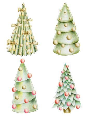 Collection of christmas trees with decorations, hand drawn isolated on a white background