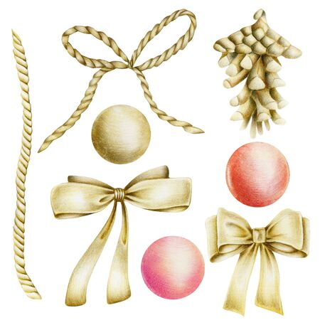 Collection of golden items (bows, fir cone, ball,), hand drawn isolated on a white background