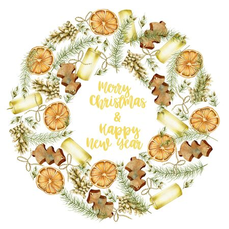 Christmas wreath with hand drawn Christmas elements (candles, branches of spuce, fir cones, dried orange) on a white background, Christmas greeting card design Banco de Imagens