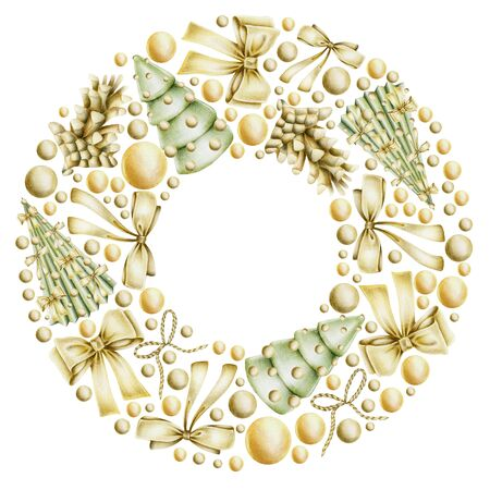 Christmas wreath with hand drawn golden Christmas elements (bows, balls, fir cones) on a white background, Christmas frame design Banco de Imagens