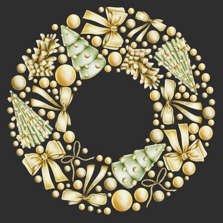 Christmas wreath with hand drawn golden Christmas elements (bows, balls, fir cones) on a dark background, Christmas card frame design Banco de Imagens