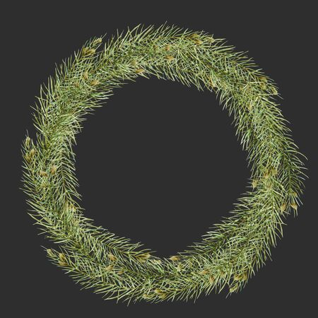 Wreath of watercolor branches of spruce, hand drawn on a dark background