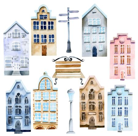 Collection of watercolor scandinavian houses and street attributes, nordic architecture, hand painted on a white Zdjęcie Seryjne