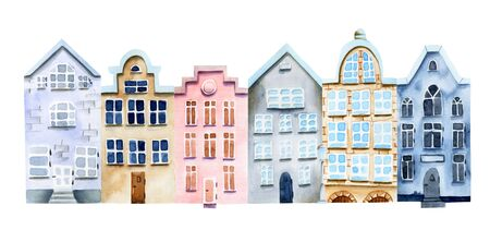 Watercolor nordic houses, scandinavian architecture, hand painted on a white Zdjęcie Seryjne