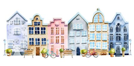 Watercolor scandinavian houses, nordic architecture, hand painted on a white