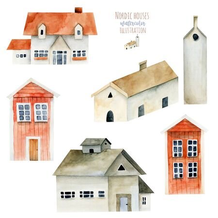 Collection of watercolor european ancient architecture, nordic houses, hand painted isolated on a white Zdjęcie Seryjne