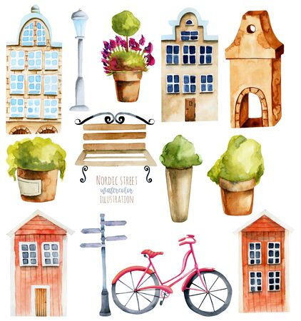 Watercolor european and scandinavian nordic houses and street objects, hand painted isolated on a white Zdjęcie Seryjne