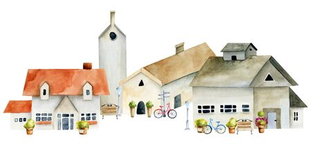 Watercolor european ancient architecture, old town street, hand painted on a white