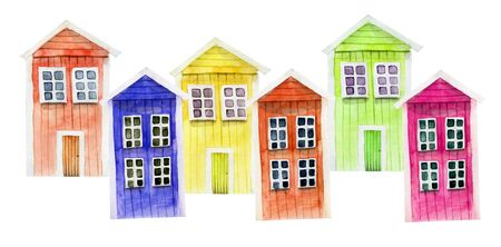 Watercolor cute colorful nordic wooden houses, hand painted on a white
