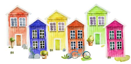 Watercolor cute colorful nordic wooden houses and street attributes, hand painted on a white Zdjęcie Seryjne