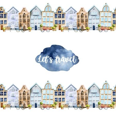 Card template with watercolor scandinavian houses street, hand painted on a white