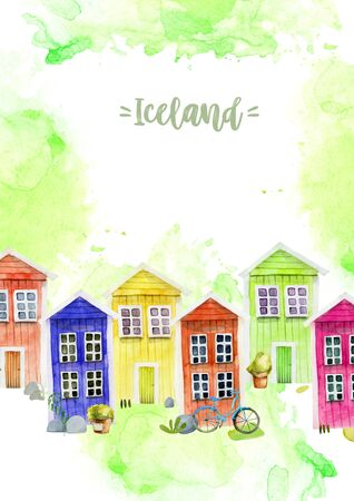 Card template with watercolor cute colorful nordic wooden houses, hand painted on a white
