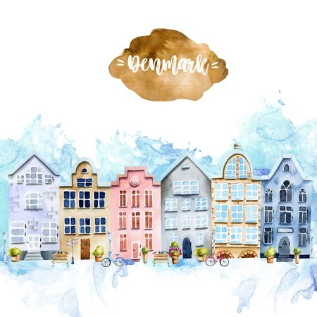 Card template with scandinavian houses, nordic architecture, hand painted on a white