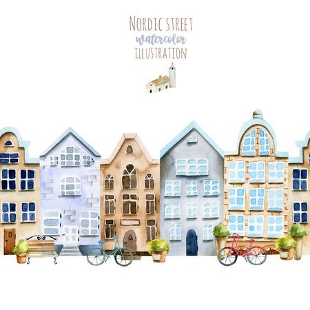 Horizontal seamless  of watercolor Scandinavian houses, nordic architecture street, hand painted on a white